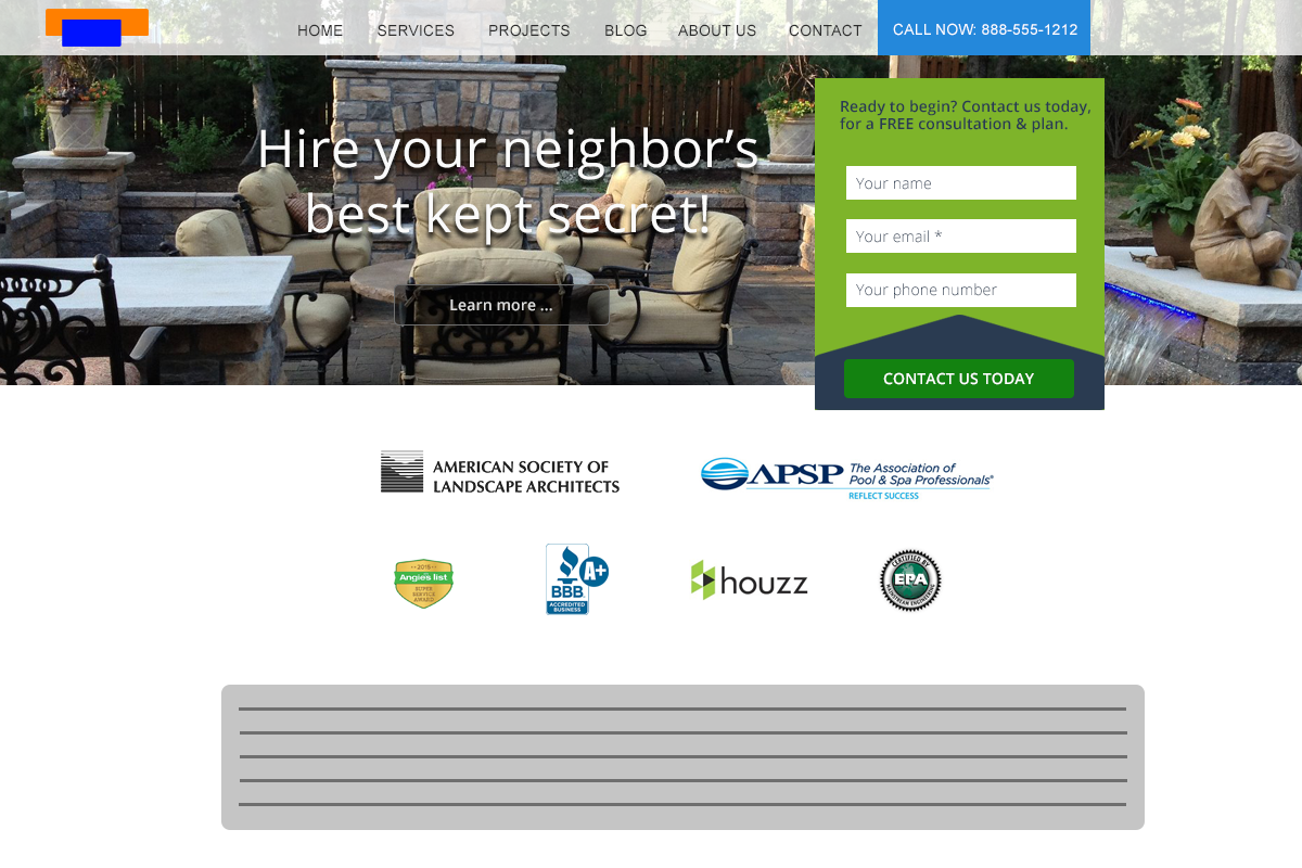 landscaping website layout that is done right