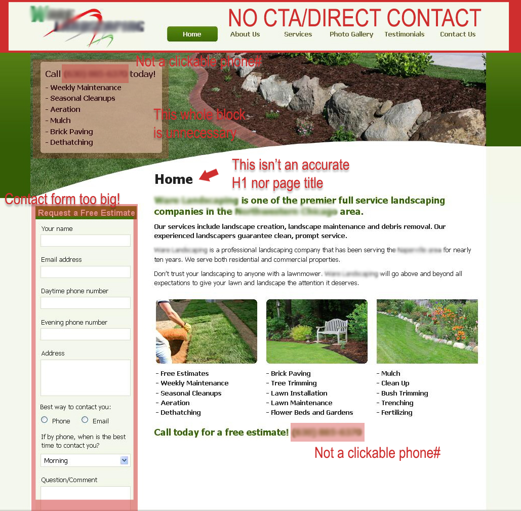landscaping website layout that sucks
