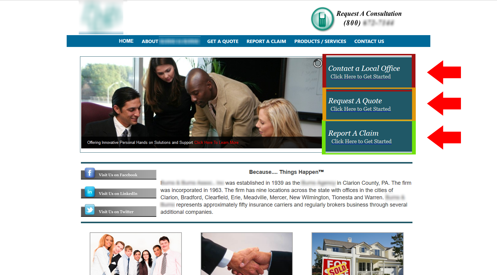 New Castle Insurance Company Example #1 - Highlighting CTAs